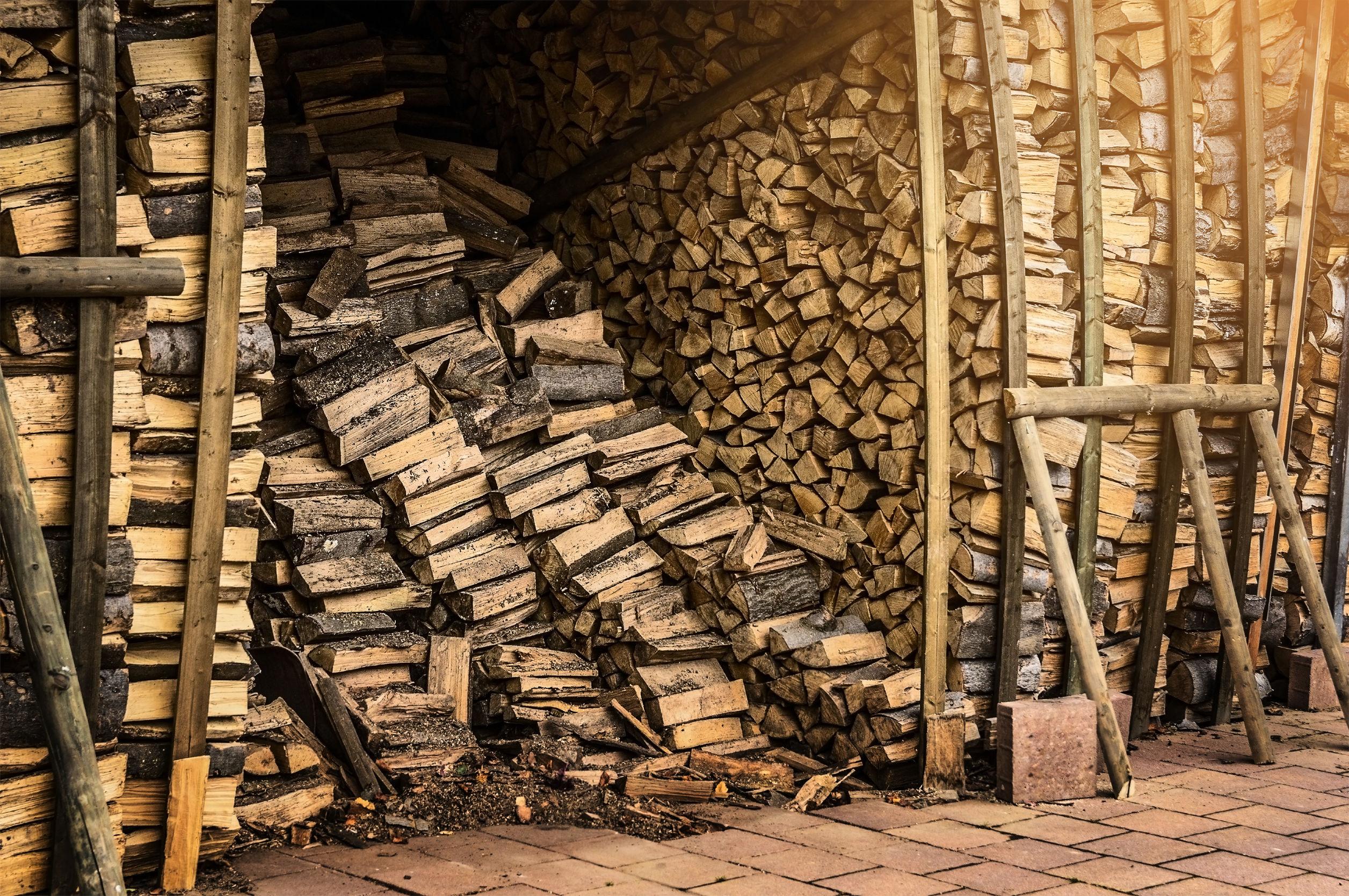 cabane de stockage pour le bois de chauffage